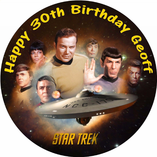 STAR TREK EDIBLE ROUND CAKE TOPPER